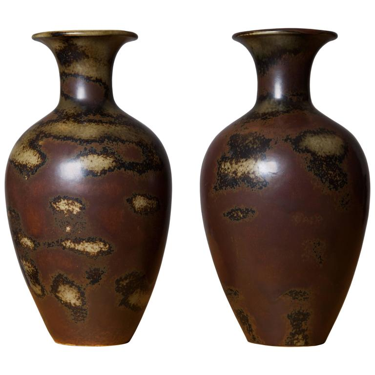 Gunnar Nylund, Pair of Floor Vases by Rörstrand Ab, Sweden, Early 1950s