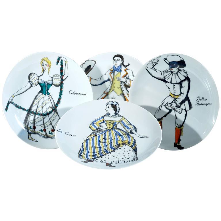 Piero Fornasetti Set of Four Commedia Dell'arte Maschere Italiane Plates