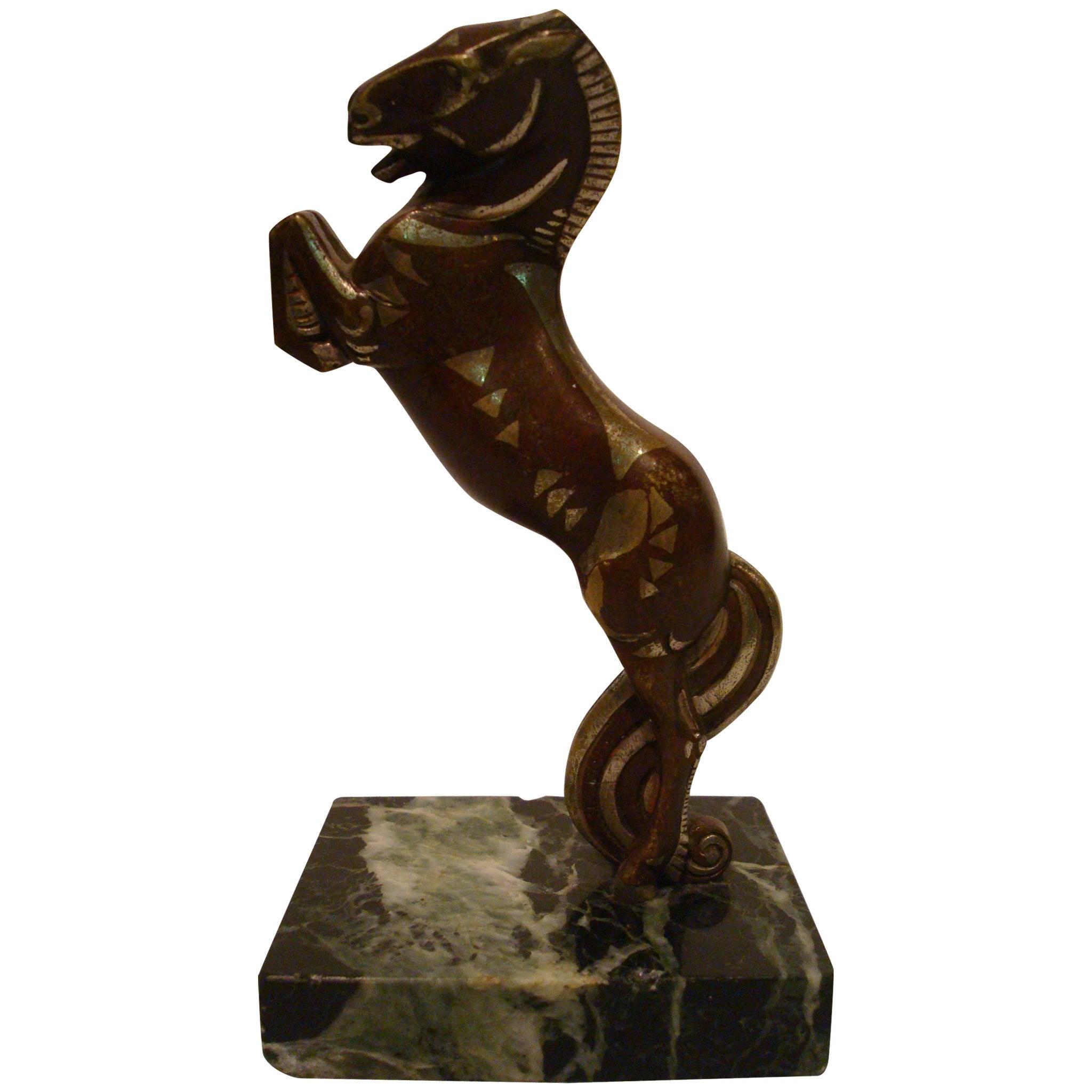 Art Deco, Cubist Becquerel Bronze Polo Horse with Original Patina, 1920s
