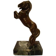 Art Deco, Cubist Becquerel Bronze Polo Horse with Original Patina, 1920s