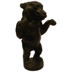 Young Bear Bronze Figure