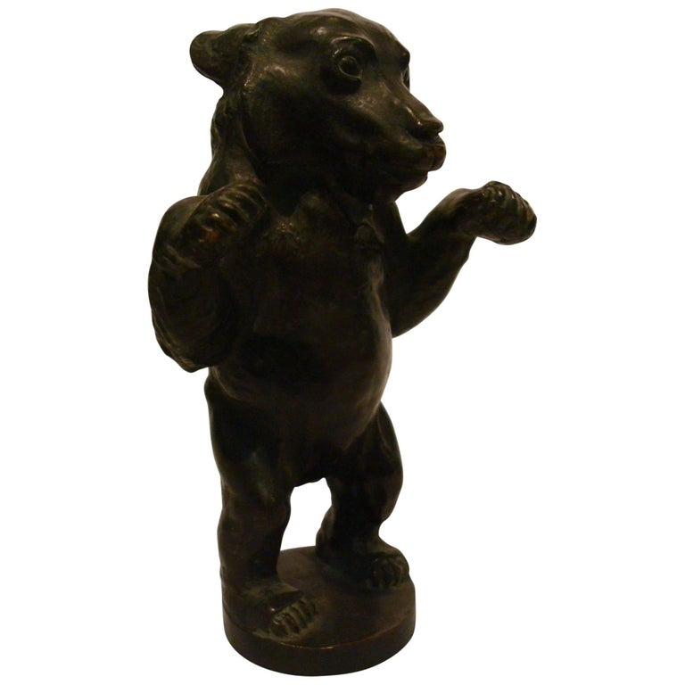 Young Bear Bronze Figure For Sale