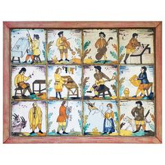 Catalan Tile Picture of Twelve Tin-Glazed Earthenware Pictures of Trades