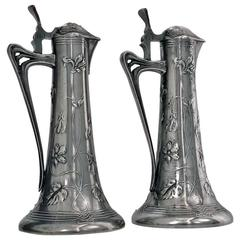 Pair of Art Nouveau Pewter Liquor Jugs, Germany, circa 1900