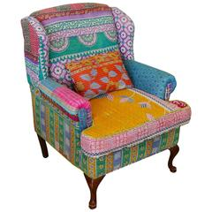 Sofa or Wingback Chair of Many Fabrics Upholstered in the Bohemian Style
