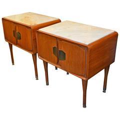Beautiful Pair of Wood Nightstands In The Taste Of Gio Ponti, circa 1960