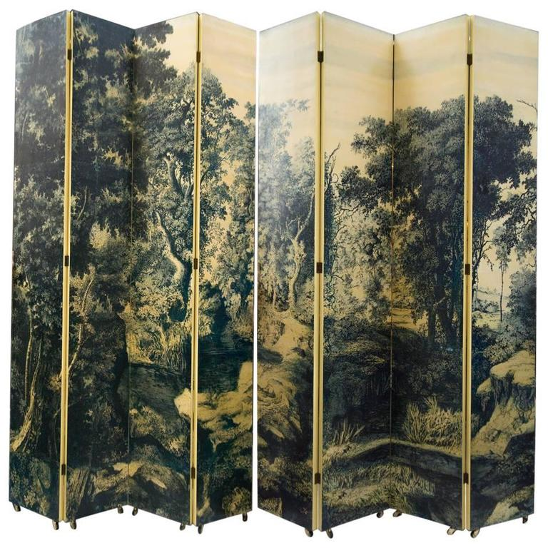 Eight-Panel Folding Screen by Piero Fornasetti, Italy, 1950's For Sale