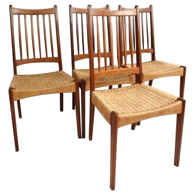 Superb Set Of Mid Century Modern Teak And Rope Cord Dining Chairs Bralicious Painted Fabric Chair Ideas Braliciousco