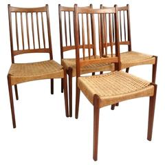 Set of Mid-Century Modern Teak and Rope Cord Dining Chairs