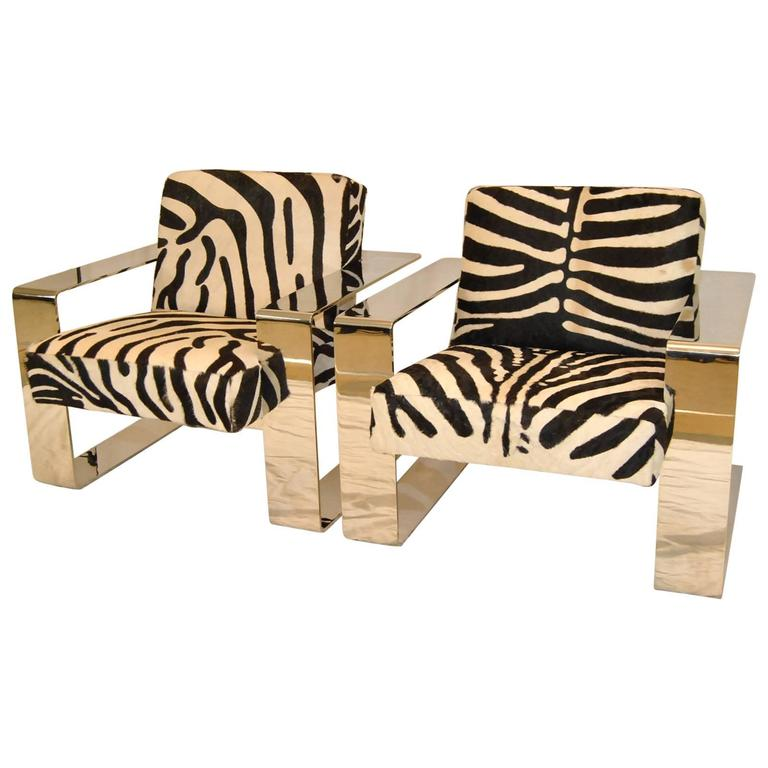 Pair Of Connor Chairs With Chrome Frame And Zebra Print Cowhide Upholstery  For Sale