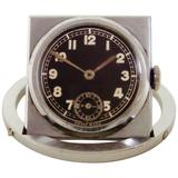 Swiss Art Deco Geometric Chrome/Steel Folding Pocket or Desk Traveling Watch