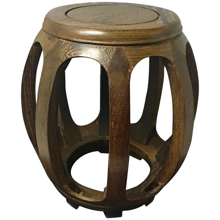 Asian Mid Century Modern Solid Wenge Wood Garden Seat