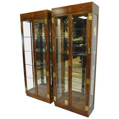 Pair of Campaign Style Display Cabinets by Henredon