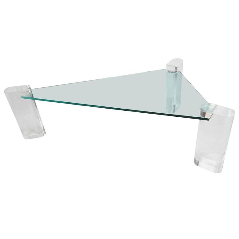 Rare Triangular Lucite Cocktail Table by Karl Springer For Sale