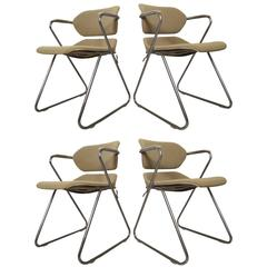 Set of Four Chrome Chairs Designed by Hugh Acton for American Seating
