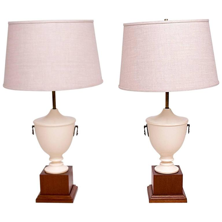 Antique Neoclassical Table Lamps, Solid Mahogany