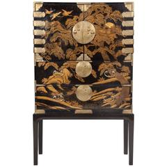 Striking Japanese Gilt and Black Lacquer Cabinet on Later Stand