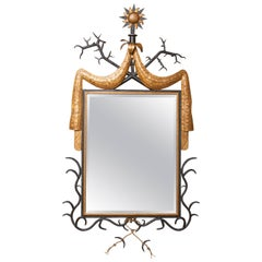 Exceptional Wrought and Painted Iron Mirror in the Manner of Gilbert Poillerat