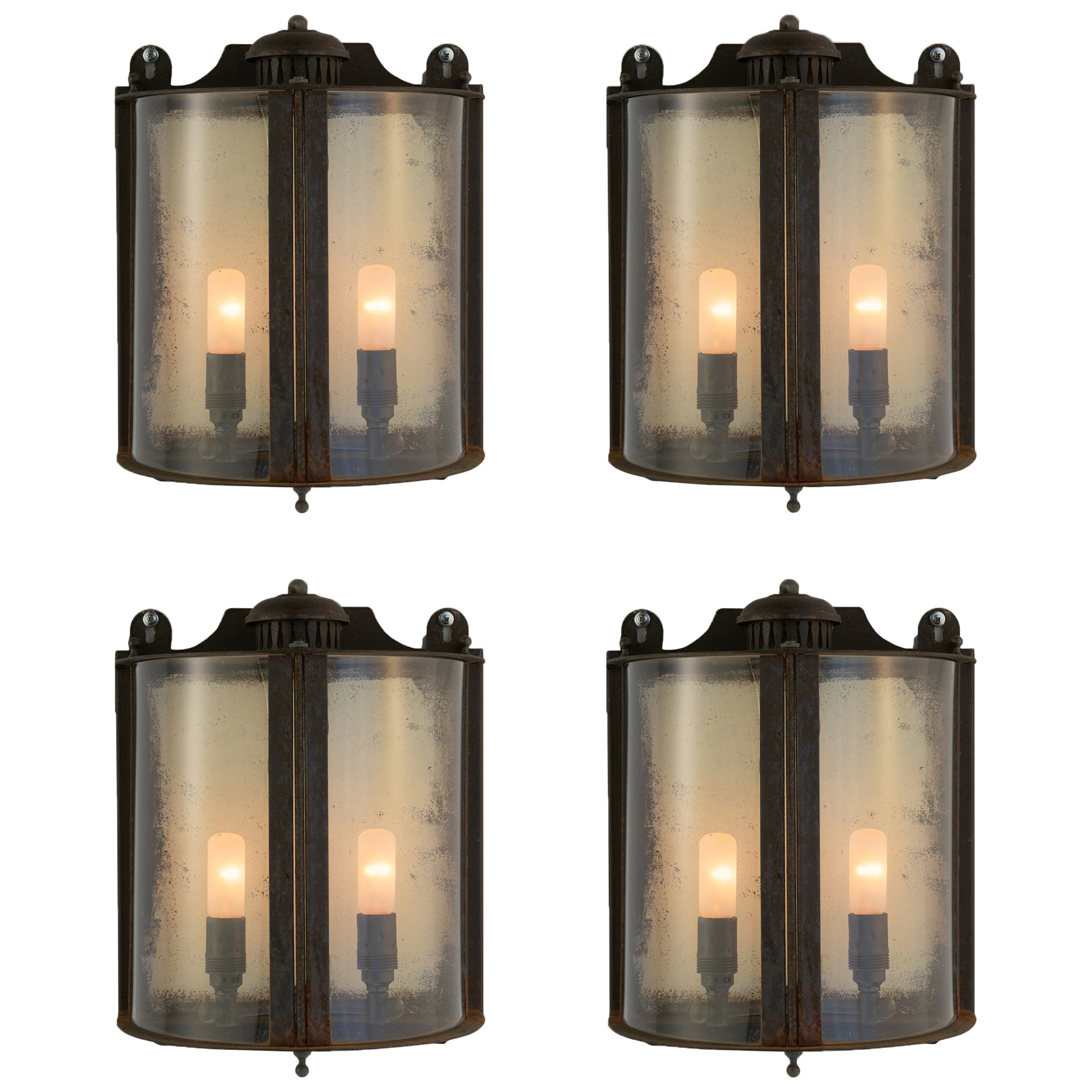 Galvanized Metal and Glass Outdoor Wall Sconce, Italy, 21st century
