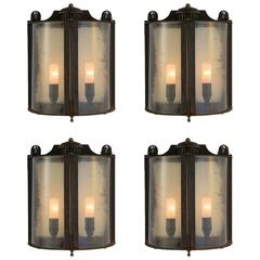 Galvanized Metal and Glass Outdoor Wall Sconce