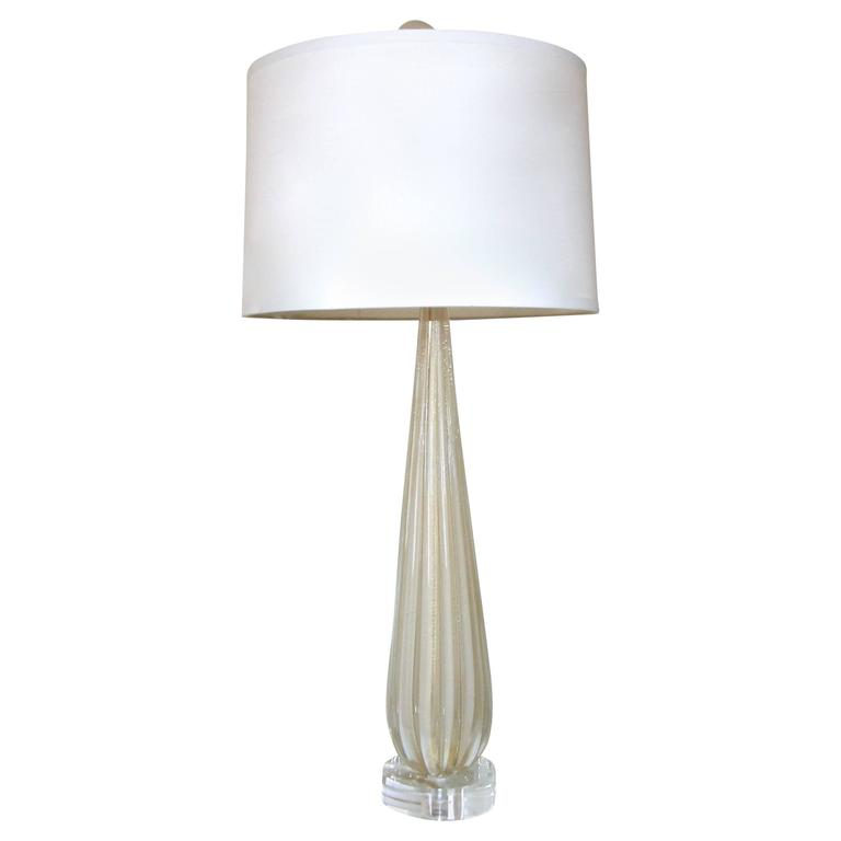 Single Tall Barbini Murano Italian White Gold Ribbed Table