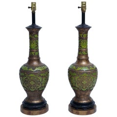 Apple Green Cloisonné and Gilt Bronze Table Lamps