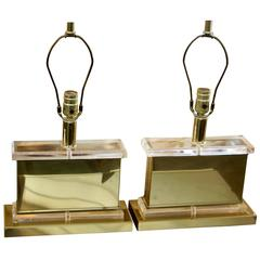 London Lamp Company Lucite and Brass Lamps