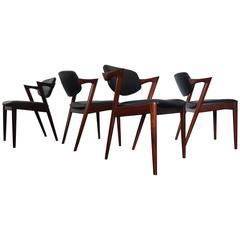 Four Kai Kristiansen Model 42 Rosewood Frame Dining Chairs for Schou Andersen