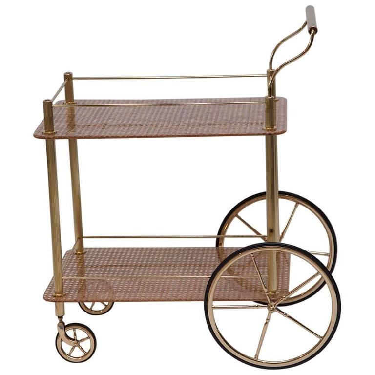 Italian Brass and Rattan Bar Cart