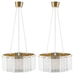 Pair of Swedish Mid-Century Pendants in Glass and Brass