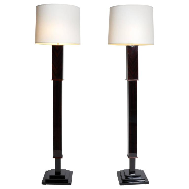 Pair of Hungarian Floor Lamps with a Step Base
