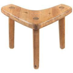 Swedish Studio Crafted Pine Stool or Corner Table by Stig Sandqvist, 1940s