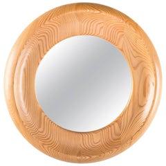 Round Swedish Mirror in Pine by Erik Höglund