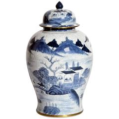 Blue and White Tall Jar with Lid