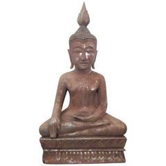 Hand-Carved Wood Thai Buddha