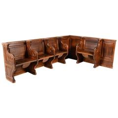 Unusual Solid Oak Panelled Choir Benches