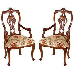 Pair 18th Century Venetian Rococo Armchairs in Walnut with Richly Carved Detail