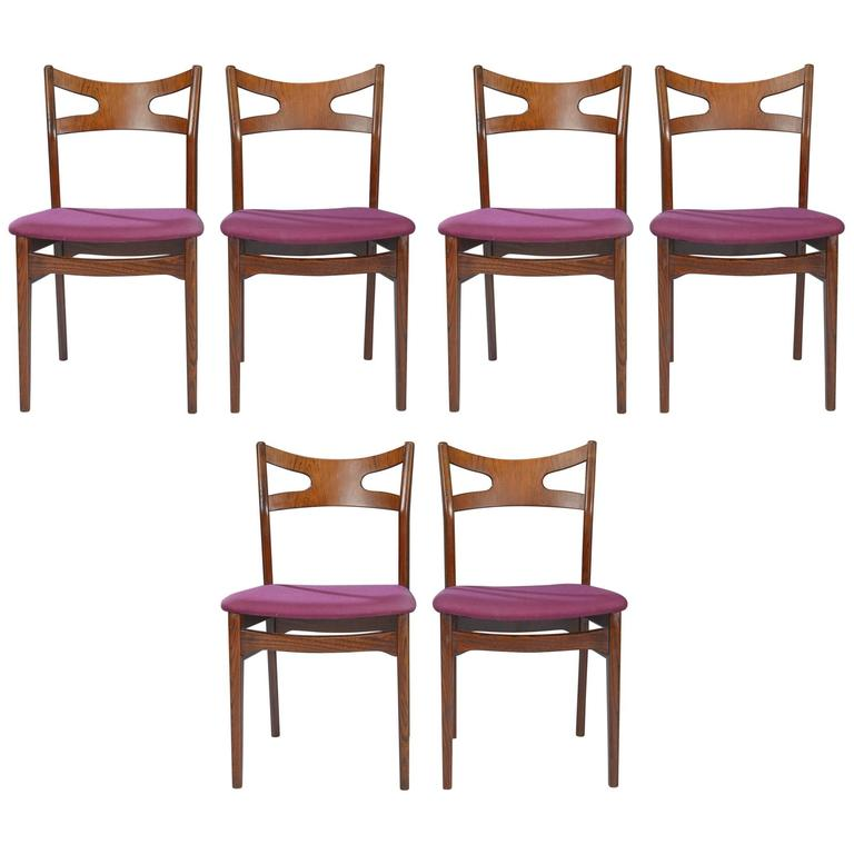 Set of Six Rosewood Danish Dining Chairs