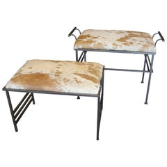 Great Steel Benches with Debrided Hide Seats
