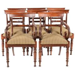 Pair of English Regency-Style Dining Armchairs only, circa 1830