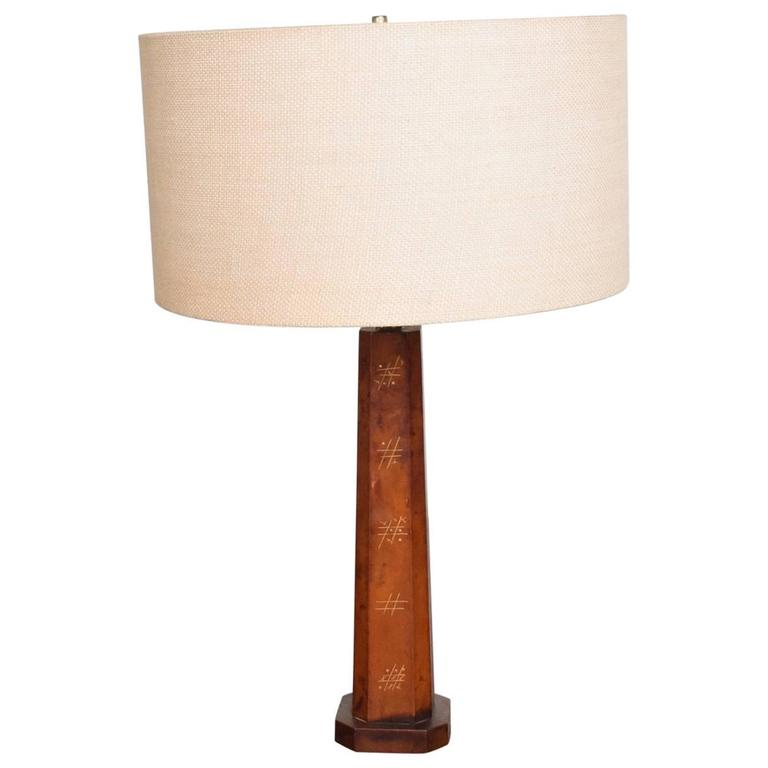 Mexican Modernist Leather Wrapped Table Lamp