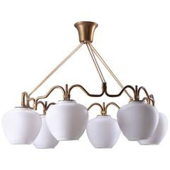 Brass Chandelier with Opaline Glass Shades by Bent Karlby for Lyfa