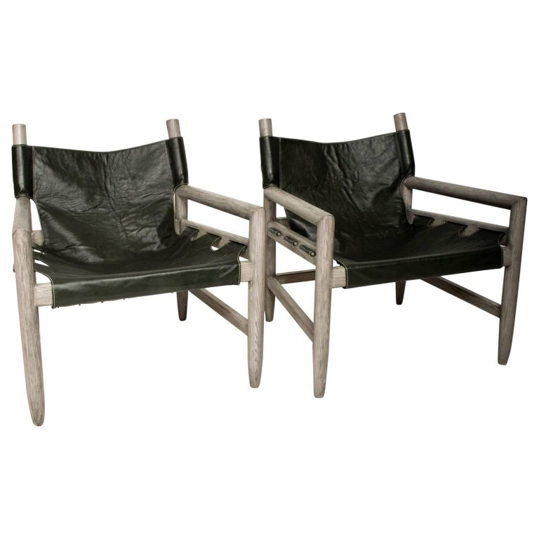 Mid Century Modern Pair of Safari Lounge Chairs For Sale
