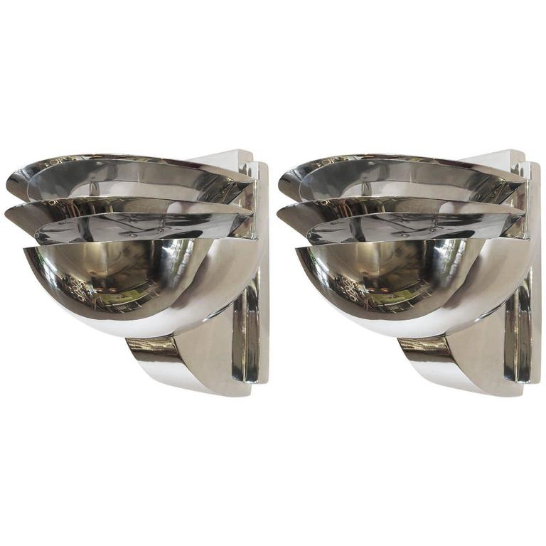 Elegant Art Deco Wall Sconces in Polished Aluminium 1