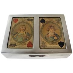 Edwardian English Sterling Silver Playing Cards Box by Walter H. Wilson