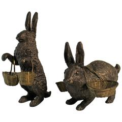 Pair of Edwardian Bronze Rabbit Sculptures