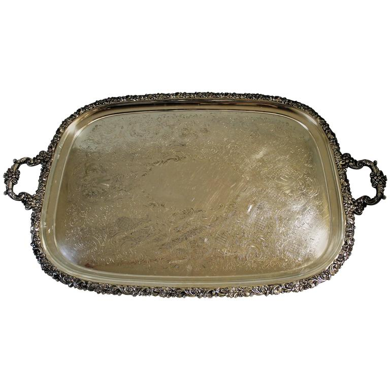Edwardian Ellis-Barker Silver Plated Serving Tray