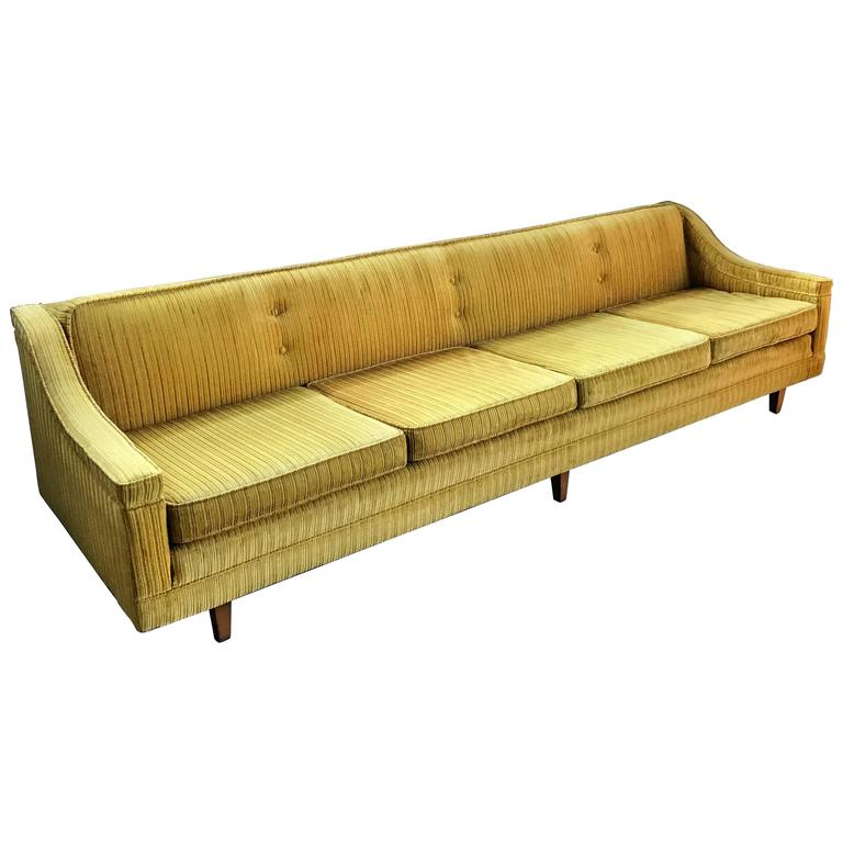 Gold velvet corduroy harvey probber sofa at 1stdibs for Gold velvet sectional sofa