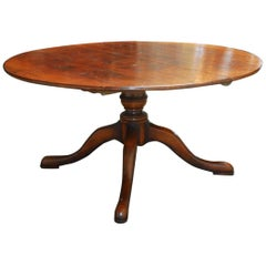 Italian Walnut Round Pedestal Dining Table