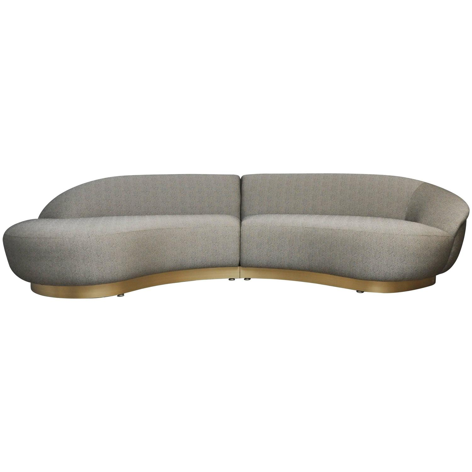Milo Baughman Sectional Sofa On Brushed Bronze Base